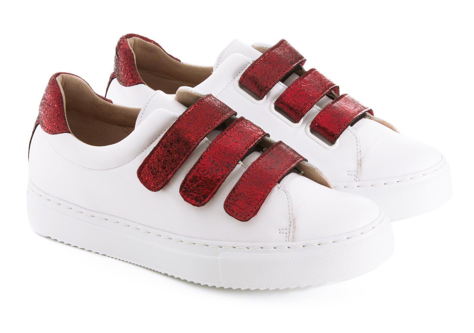Jules & Jenn basket-scratch-cuir-blanc-rouge