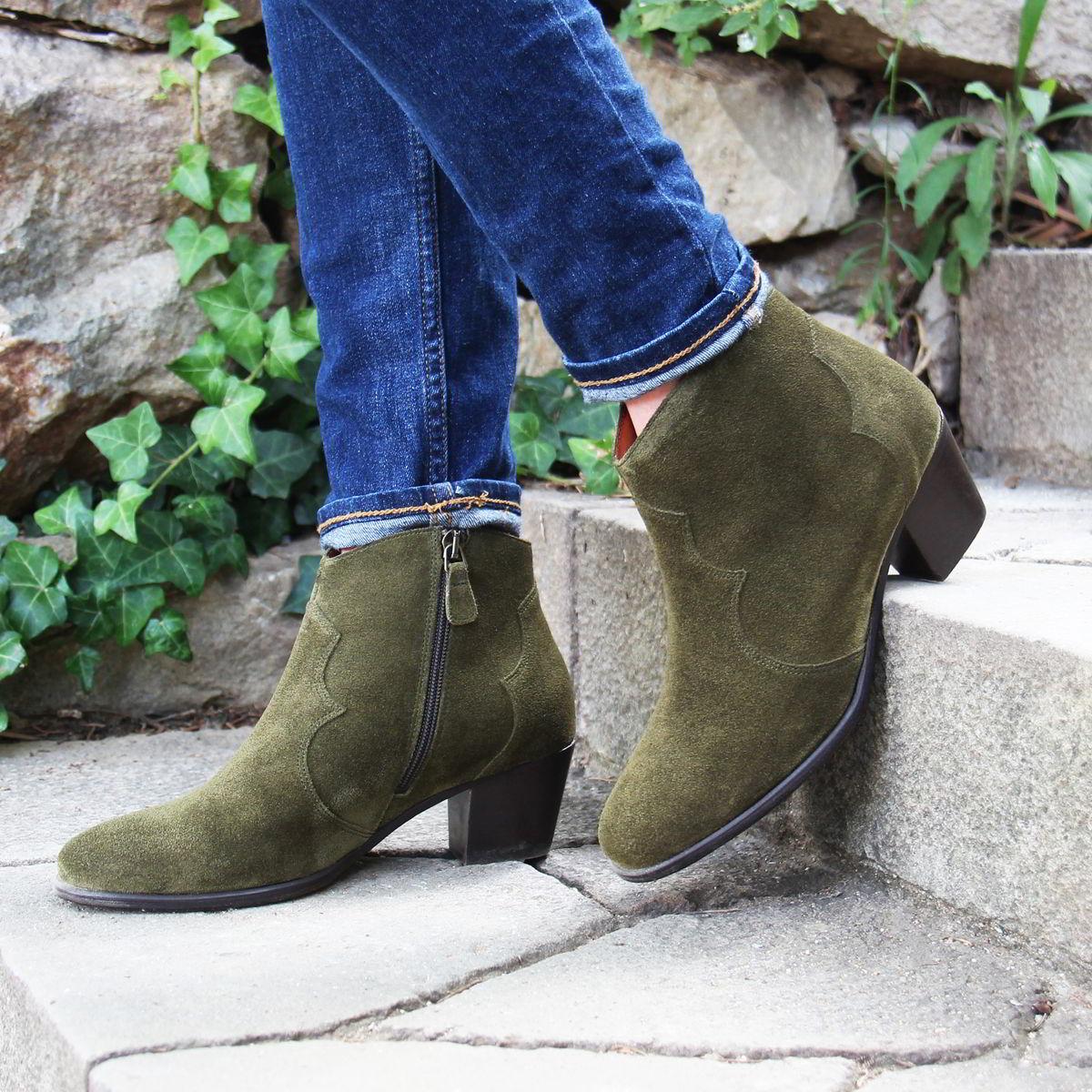 Jules and Jenn - bottines cowboy kaki