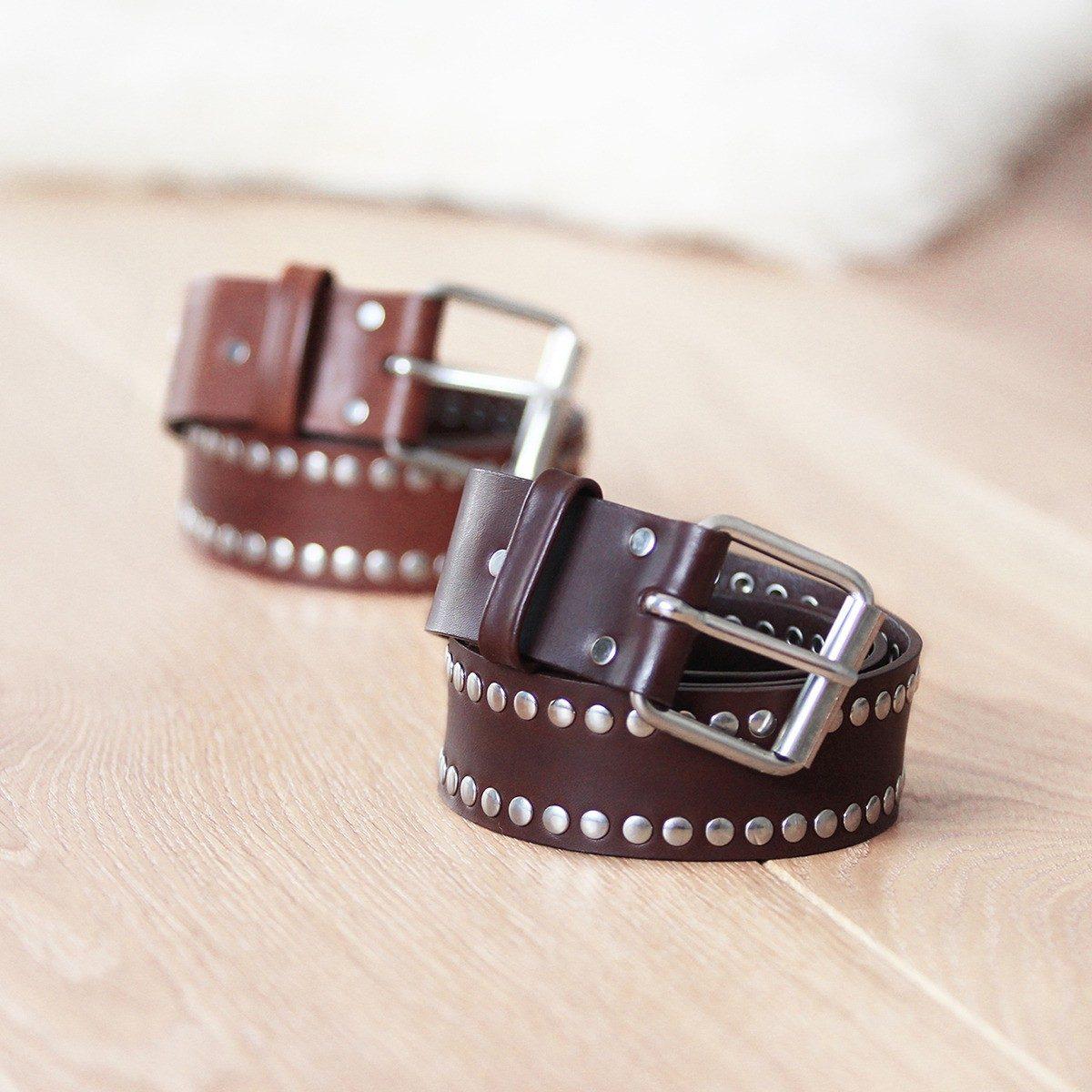 JULES & JENN - ceintures - cloutees - cuir - marron - cognac