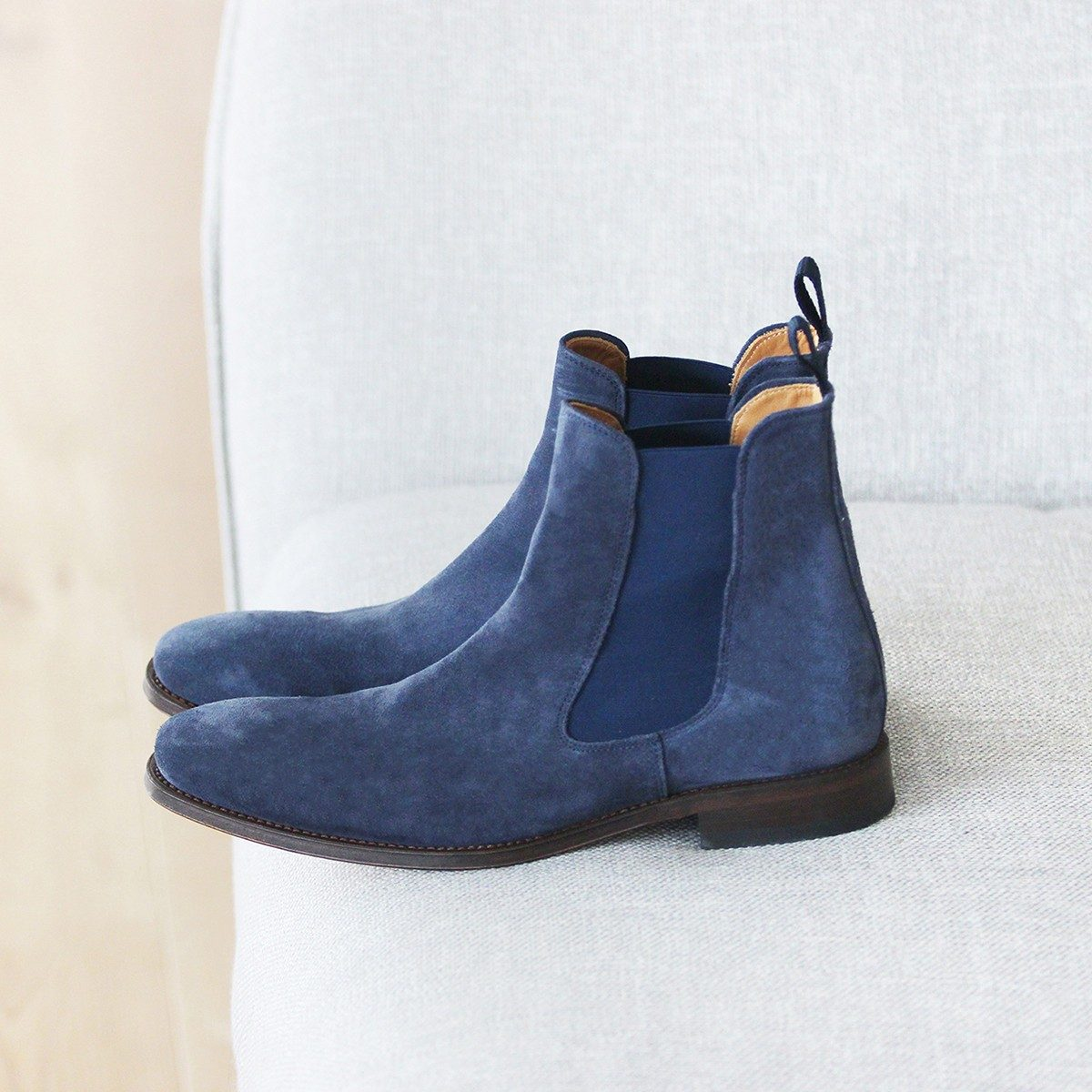 JULES & JENN - chelsea - boots - cuir - bleu