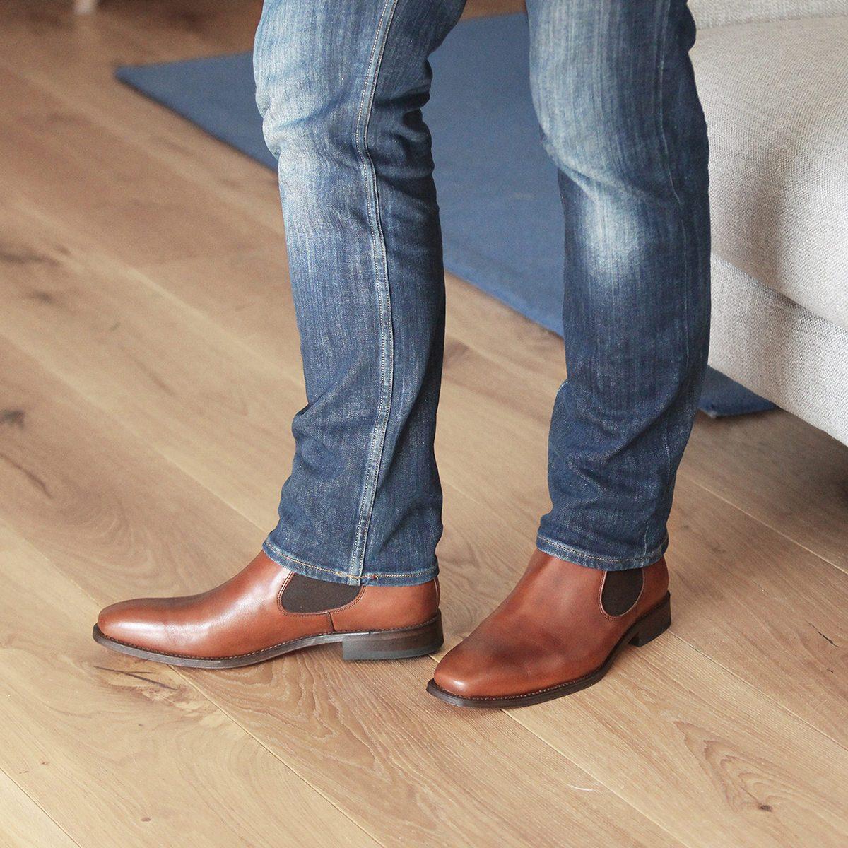 JULES & JENN - chelsea - boots - cuir - cognac