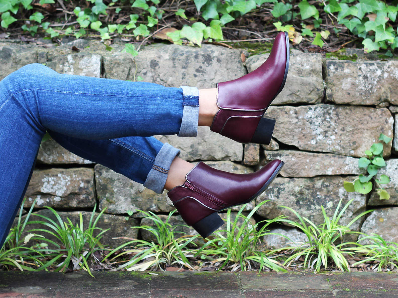JULES & JENN - bottines moyen talon bordeaux
