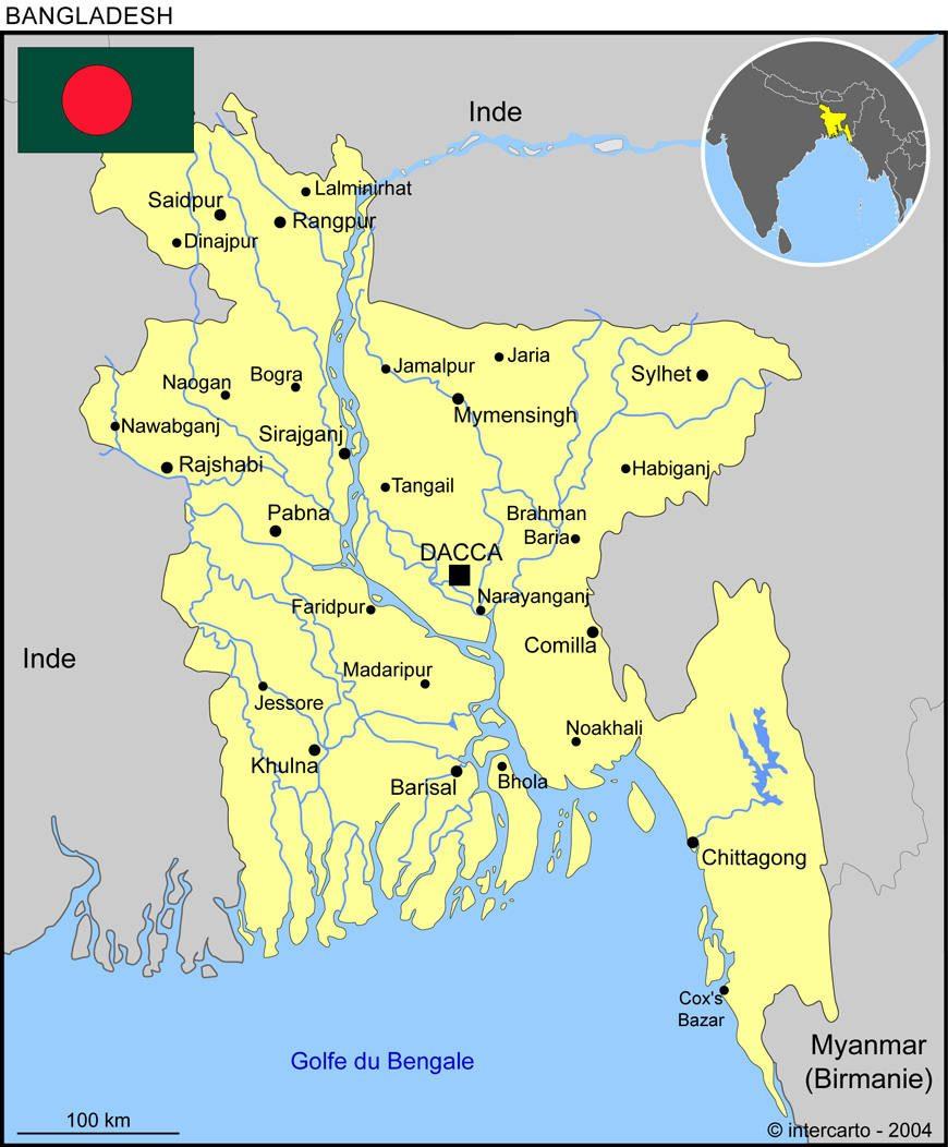 Bhallot - Carte du Bangladesh