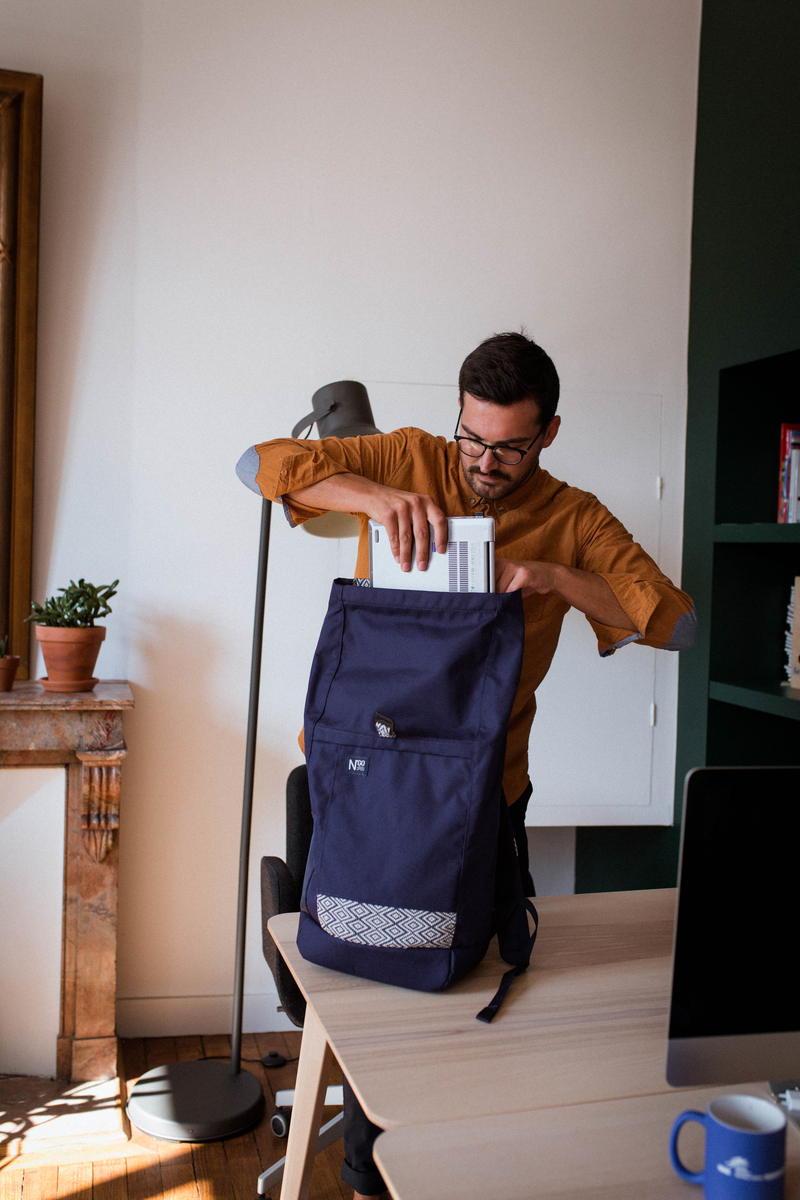 Ngo Shoes - Backpack - Bleu - recyclé - Vegan - Vietnam - Homme - Bureau