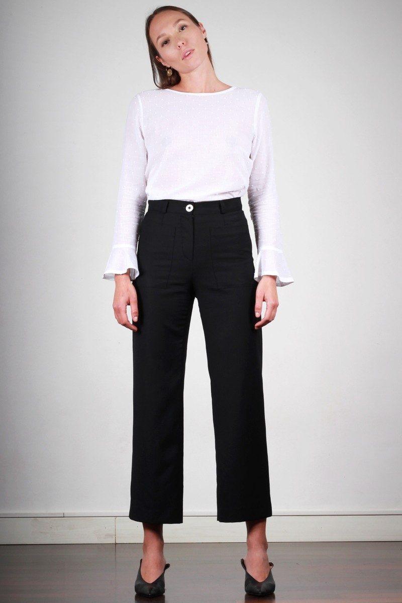 Atode - pantalon large femme taille haute noir en laine marie