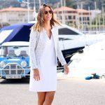 Atode - robe droite blanche en pique de coton eloise