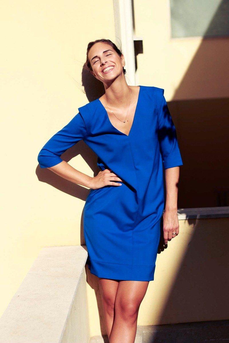 Atode - robe droite bleu roi anais en laine
