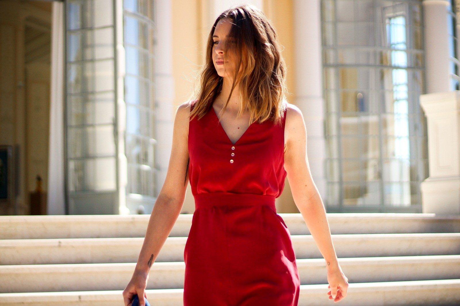 Atode - robe en soie rouge droite – coralie