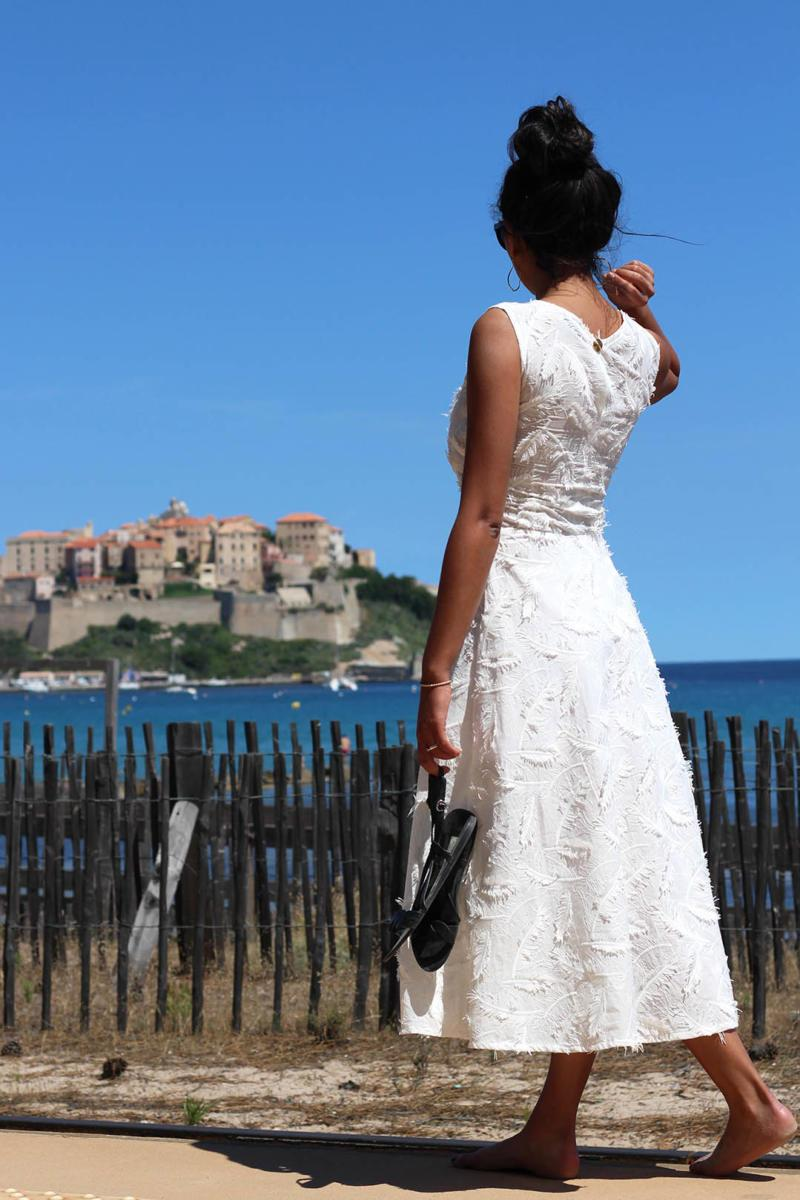 ATODE — Robe patineuse longue en coton plume blanc Louise