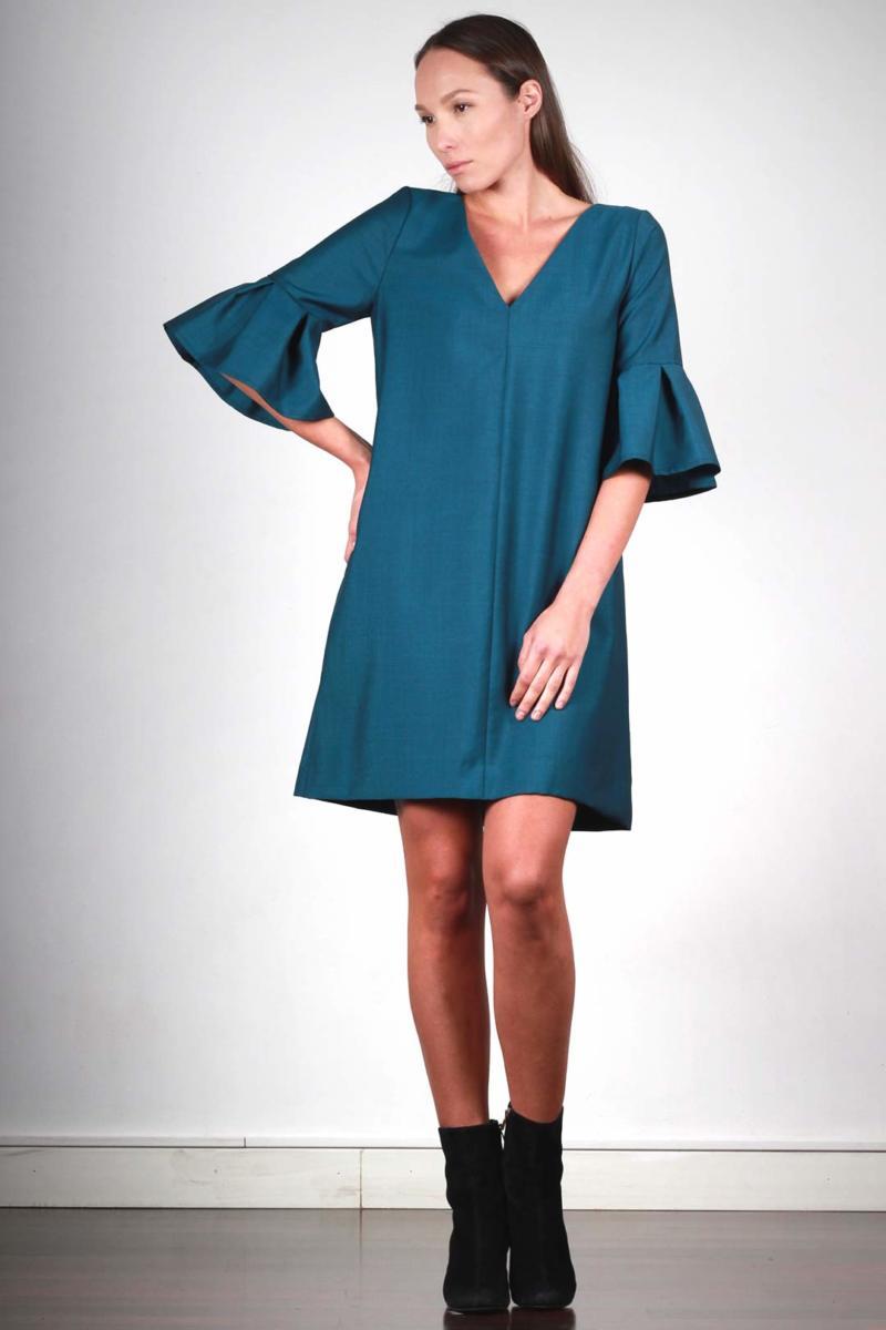 ATODE — Robe trapèze avec manches volants en laine froide bleu canard Michèle