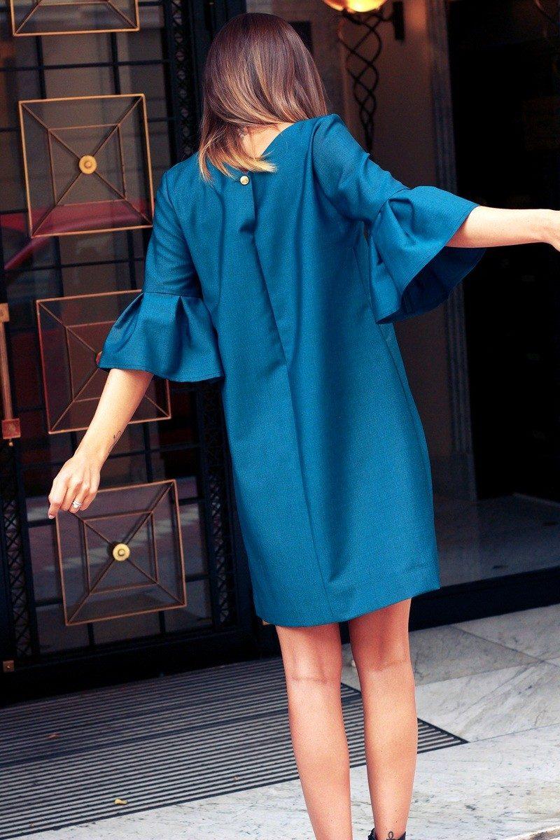 Atode - robe vert fonce a volants en laine froide – michele 1