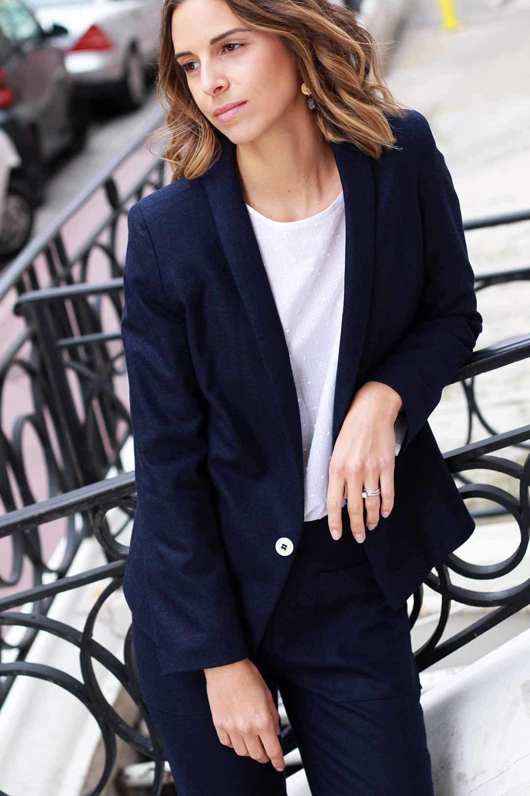 ATODE — Tailleur en laine flanelle bleu chiné Marie-Anne et pantalon Sophie