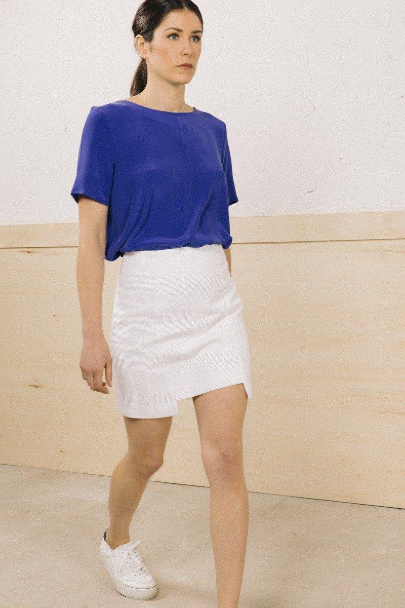 Atode - top soie bleu manches courtes aurelia