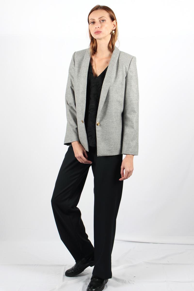 ATODE — Veste de tailleur en laine flanelle grise avec 2 boutons dorés Marie anne