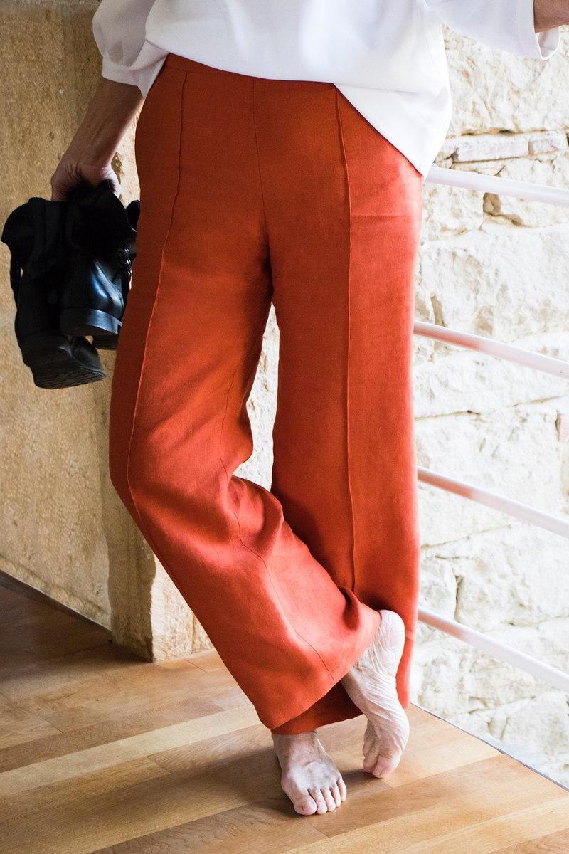 C.Bergamia - Pantalon Sublime en Lin Orange - Pantalon large femme fluide - Copyright Colette Courtris