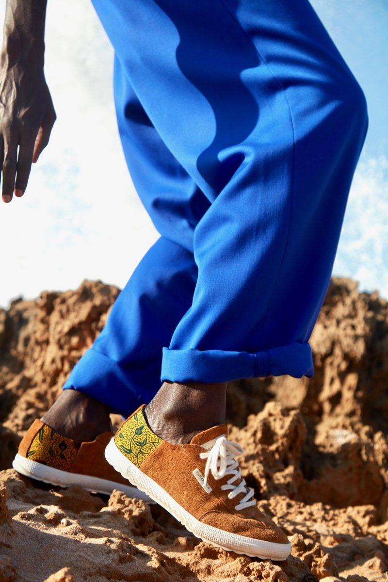 PANAFRICA- modèle Harmattan - tennis en cuir et véritable wax côte d'ivoire