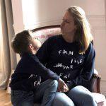 Bonnefamilles sweat adulte enfant bleu navy coton biologique GOTS modèle famille imparfaite