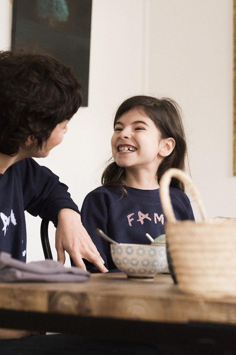 Bonnefamilles - sweat adulte enfant bleu navy coton biologique GOTS - modèle famille imparfaite - 44
