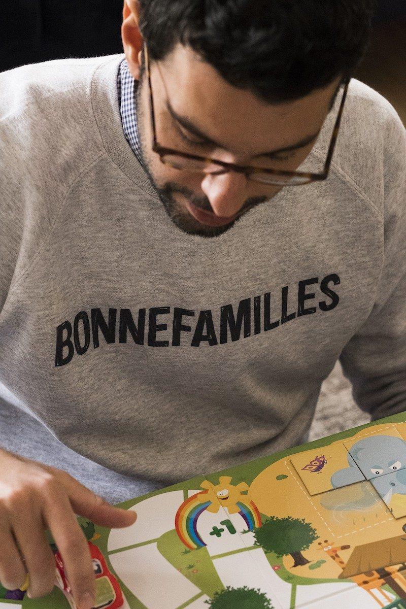 Bonnefamilles - sweat adulte gris chiné coton biologique GOTS - modèle logo marque - 8
