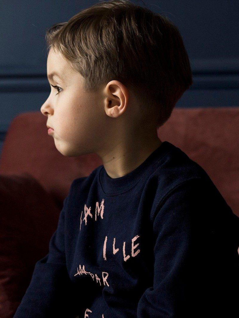 Bonnefamilles - sweat enfant bleu navy coton biologique GOTS - modèle famille imparfaite - 16