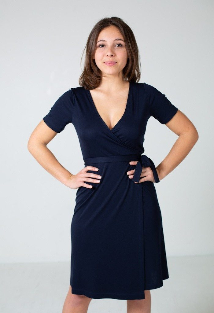 MlleParis - Robe Portefeuille-eco-responsable - Bleu Marine