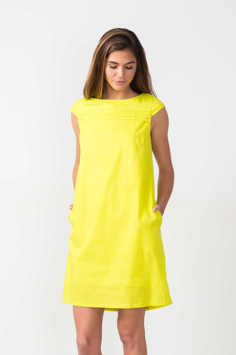 SKFK - robe Oiartza coton bio - jaune fluo