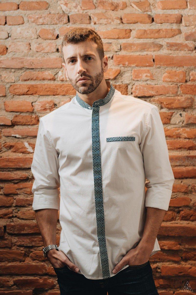 EBRAH — chemise ajustée en coton blanc – Made in France - modèle Inspiration africaine wax - EBRIE