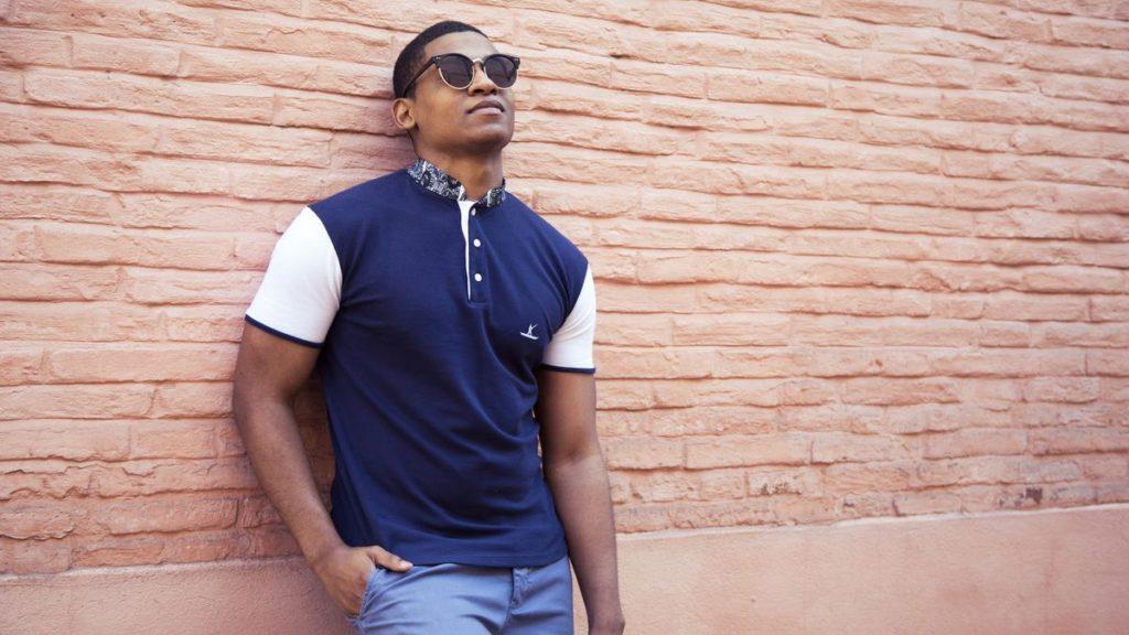 EBRAH — polo homme en coton manches courtes bleu - Made in France – modèle Inspiration africaine wax - MALINKE