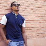 EBRAH — polo homme en coton manches courtes bleu - Made in France – modèle Inspiration africaine wax - MALINKE