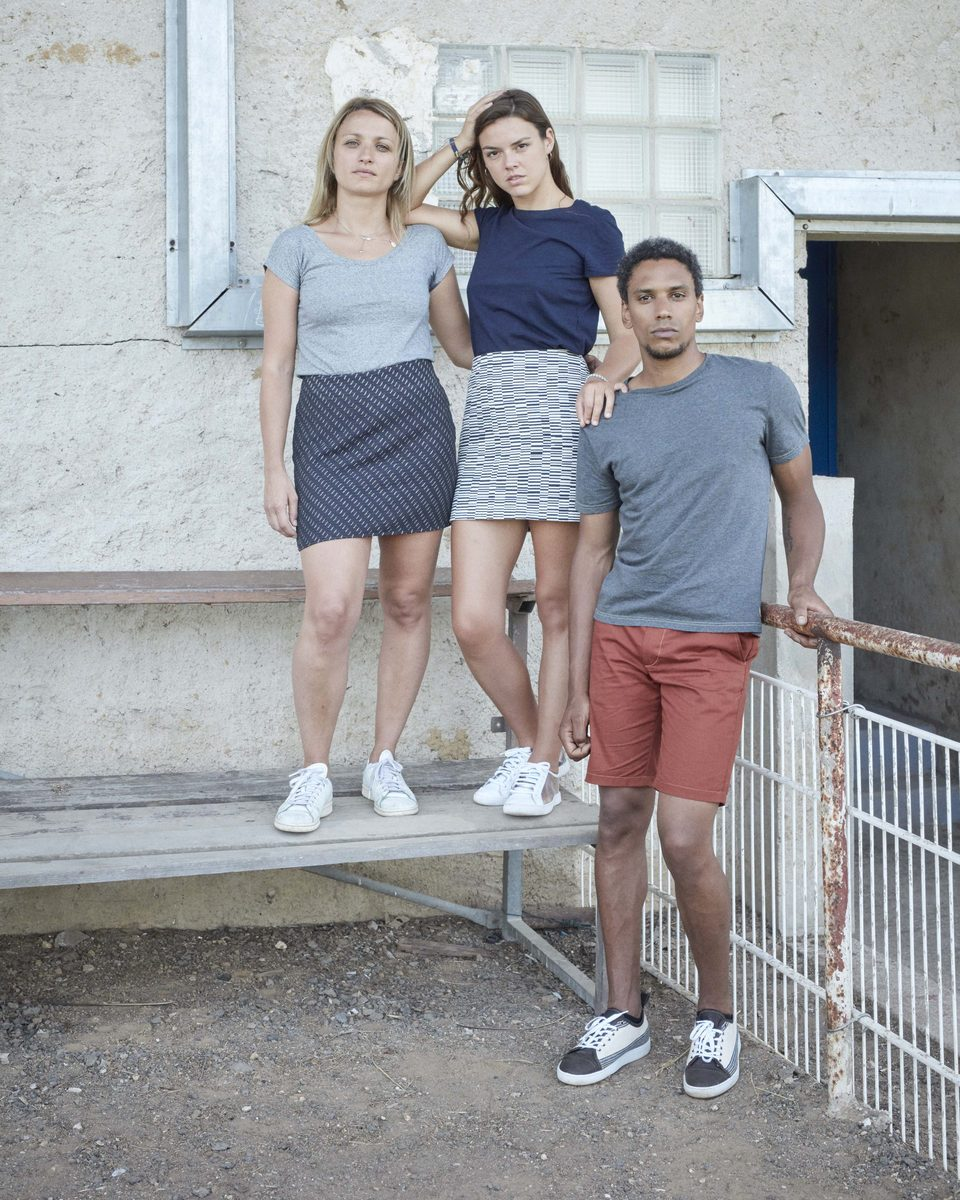 Ecclo - jupe courte short coton biologique upcyclé t-shirt homme femme Made in France édition limitée - modèle bleu gris brique