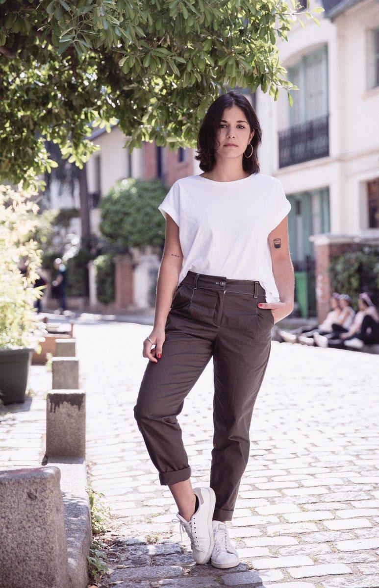 Ecclo - Pantalon femme boyfriend Made in France coton biologique upcyclé édition limitée - modèle kaki FPK-01