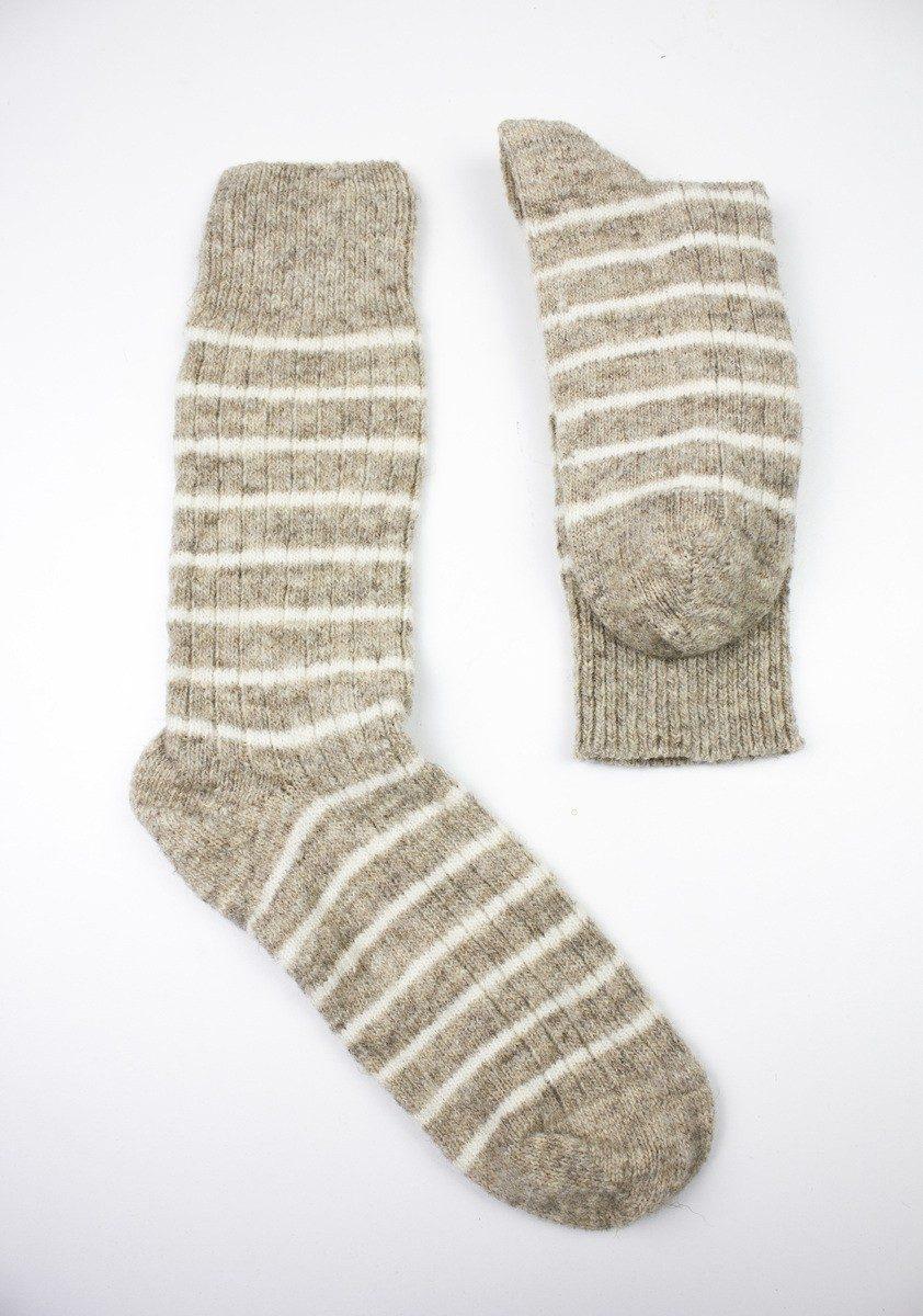 Laines paysannes - chaussettes rayées écru