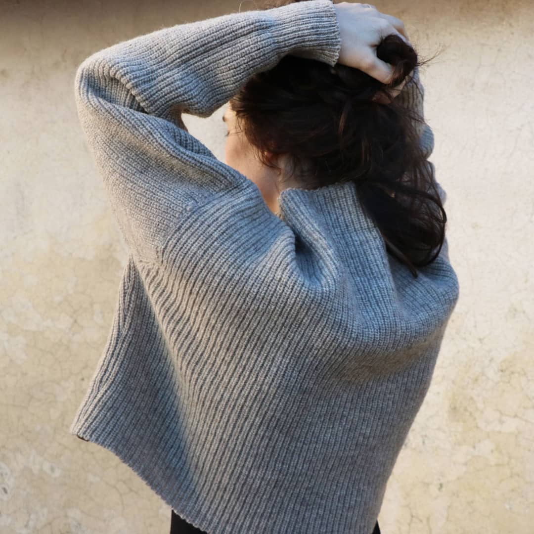Laines Paysannes - Pull gris - Femme - Laine locale - Made in France