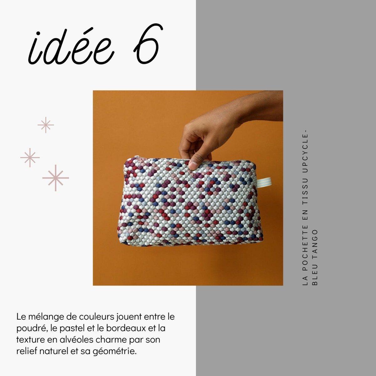 Idées de cadeaux slow fashion et déco à prix doux pour Noël - Pochette upcyclée - Bleu Tango