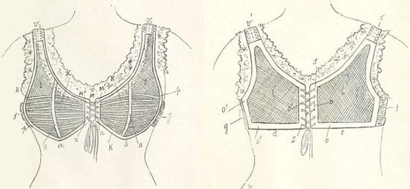 Le modèle de corselet-gorge proposé par Herminie Cadolle. Schéma extrait de Le corset, histoire, médecine, hygiène. Étude historique (1905)