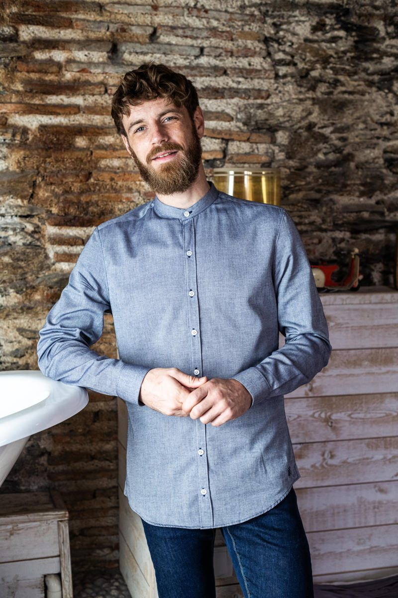 Montlimart MONTLIBIO chemise col mao coton bio marine homme vue face