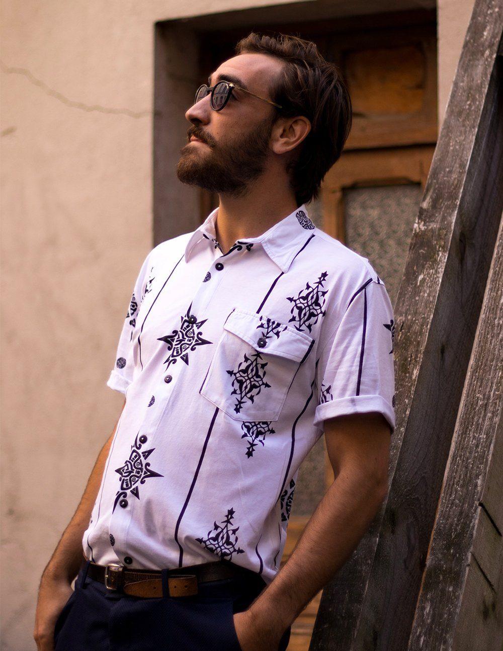 Palasaña-Belen mao(chemise à manche courte)(blanche avec motif incas en coton de pima biologique certifié GOTS)