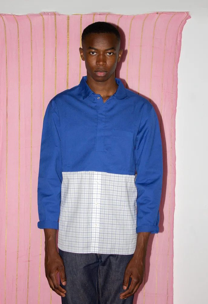 SuperMarché chemise mixte upcyclé porté sur homme copyight Sévia Chenut Ardouin