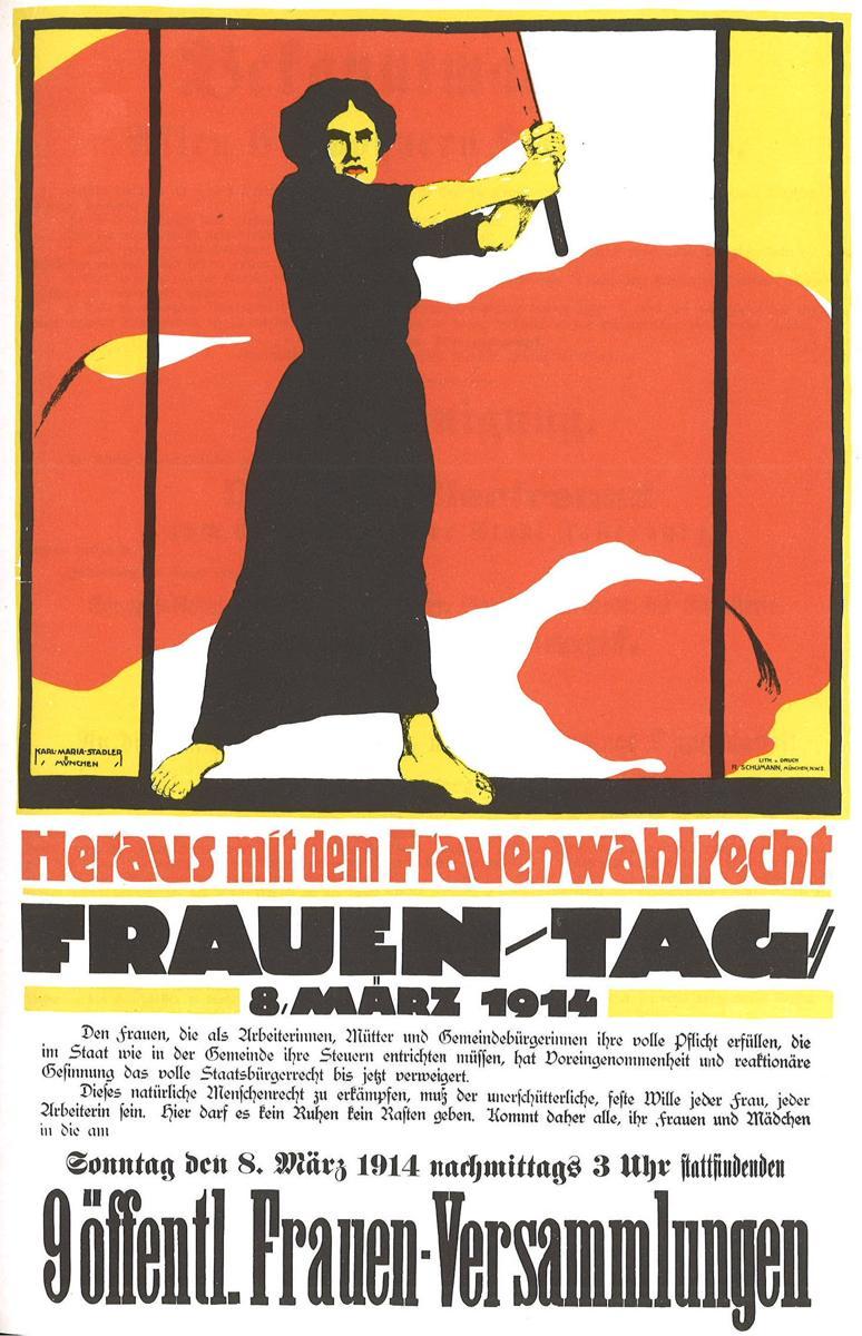 Heraus mit dem Frauenwahlrecht - En avant pour le droit de vote des femmes - dimanche 8 mars 1914