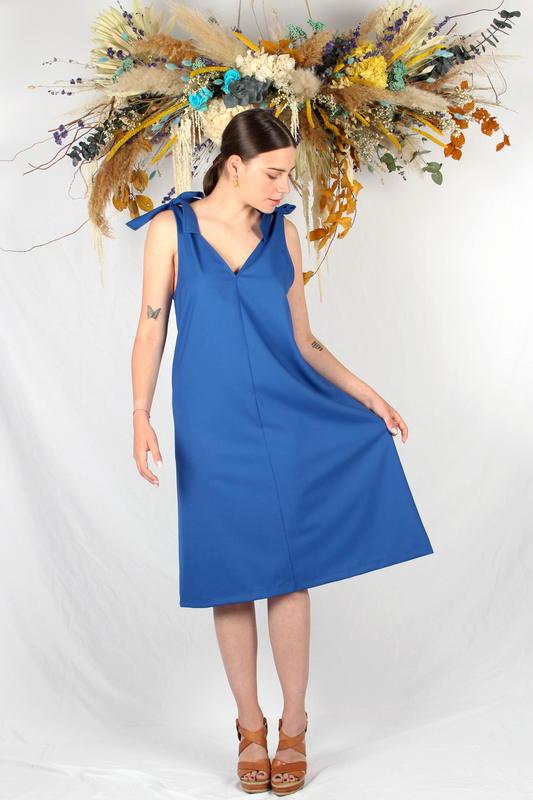 Atode - robe mi longue bleu roi - noeuds Femme - made in France - Fabriqué à Marseille - Laine froide - mode éthique -responsable - robe été -
