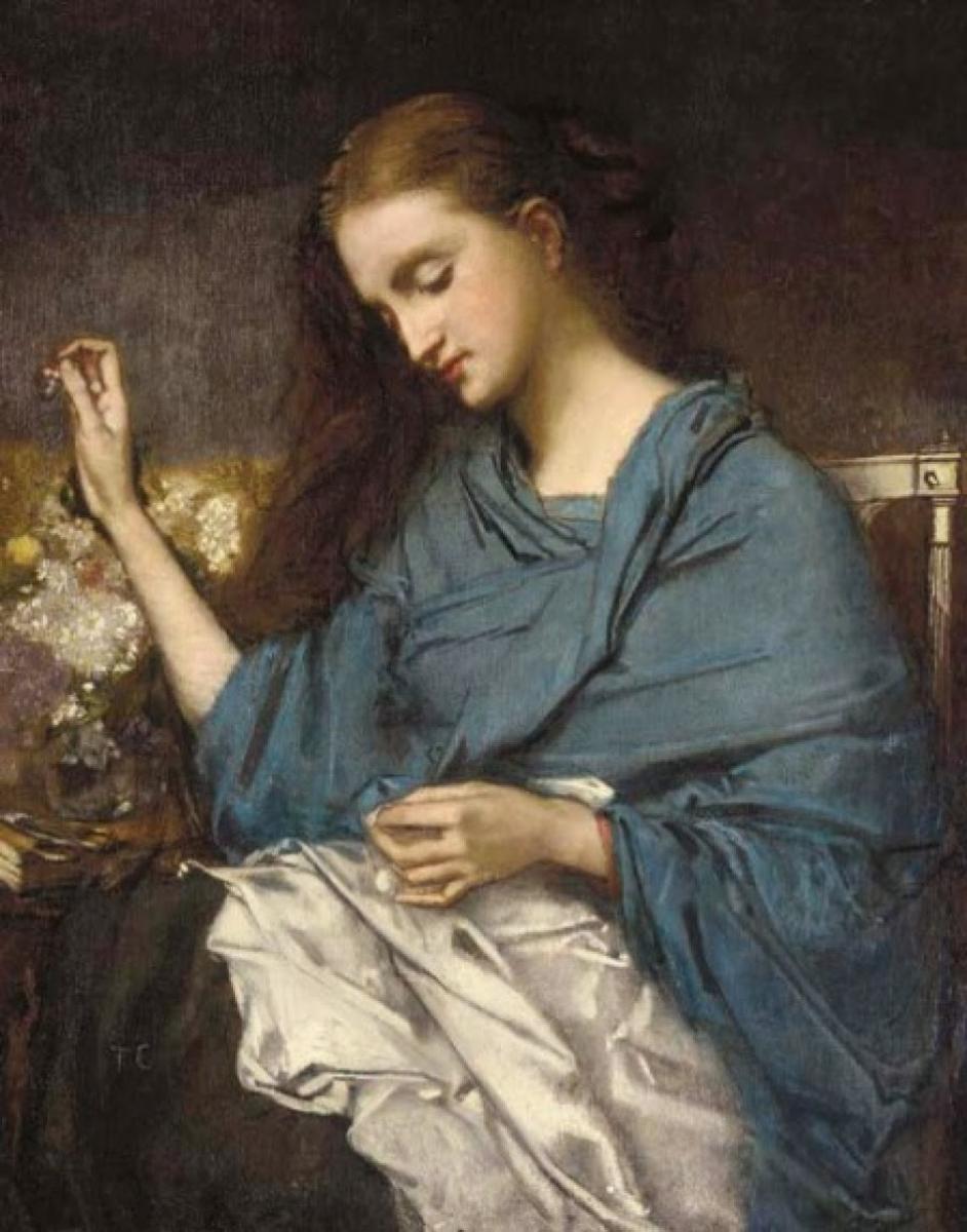 Jeune femme cousant - 1870 - Huile sur toile - Thomas Couture