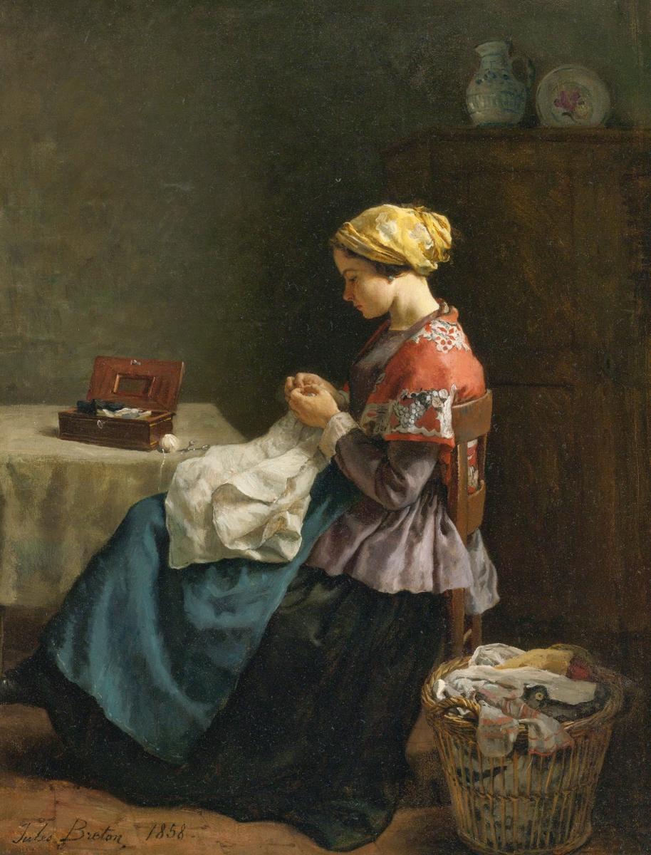 La petite couturière - 1858 - Huile sur toile - Jules Adolphe Aimé Louis Breton