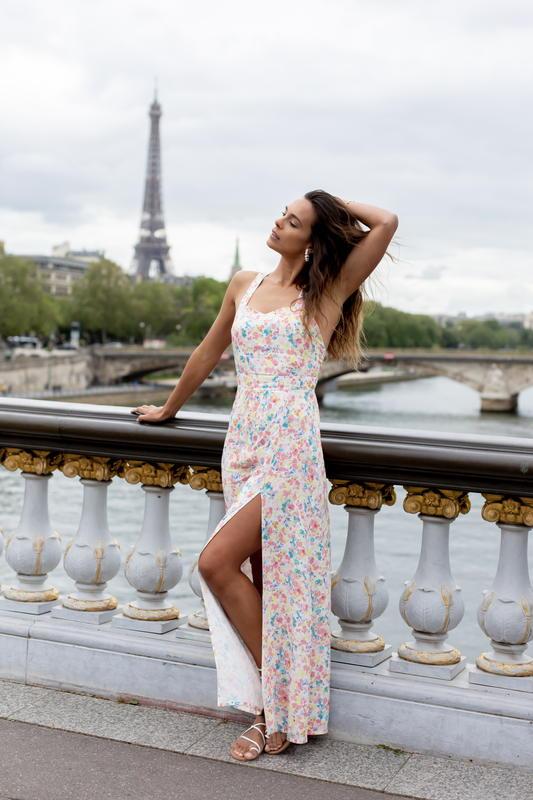 Les Jupons de Louison - Marine Lorphelin - collaboration ( made in France - robe à fleur - dos croisé - Ecovero - mode éthique - responsable - femme - Paris