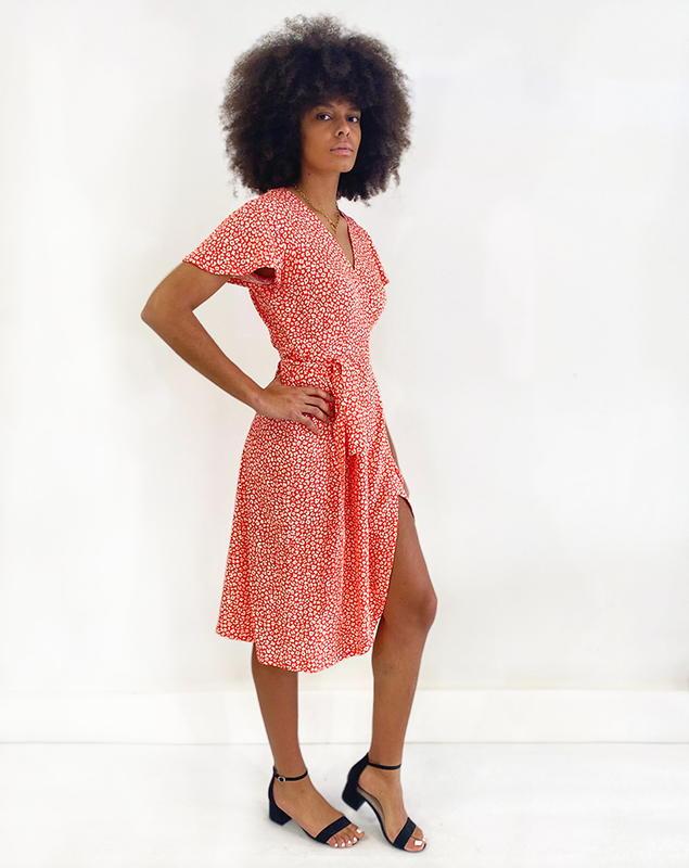 Zargot - Aatise - robe rouge à fleur - Aatise - Made in France - Ecovero - Femme dynamique - éco-responsable - éthique