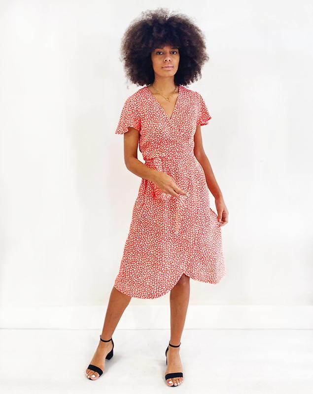 Zargot -Aatise - robe rouge à fleur - Aatise - Made in France - Ecovero - Femme dynamique - éco-responsable - éthique2