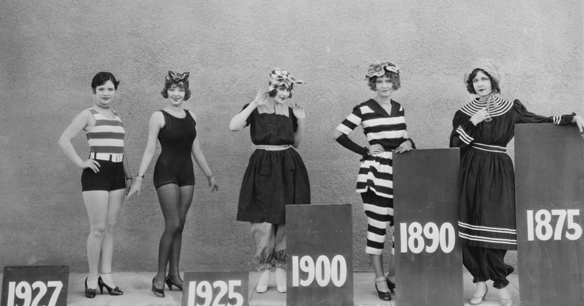 Evolution des tenues de bain féminines entre 1875 et 1927