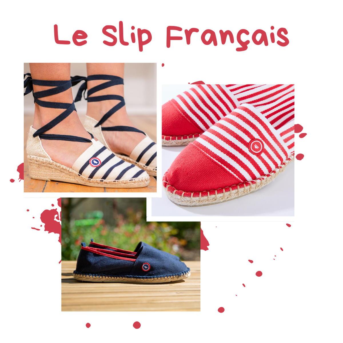 Le Slip Français - Espadrilles - rouges à rayures - bleu marine -blanches à rayures- talon compensé coton - Made in France - Mauléon