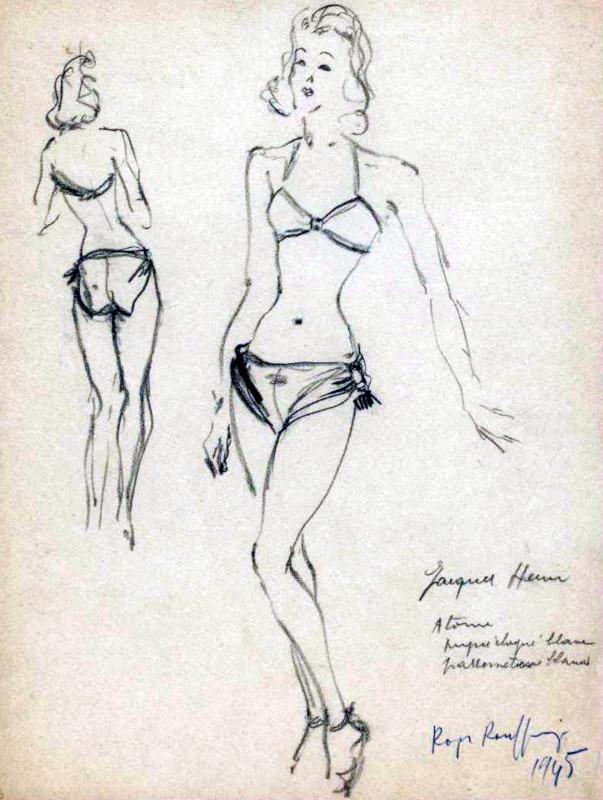 Maillot de bain Atome 2 pièces de Jacques Heim - 1945 - Fonds d'archives graphiques de Roger Rouffiange - Palais Galliera, musée de la Mode de la Ville de Paris