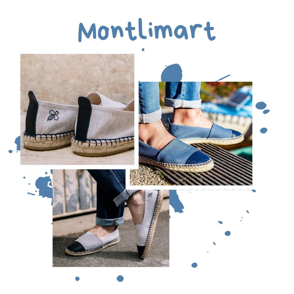 Montlimart - Espadrilles - coton - recyclé - gris - bleu - cuir - homme - fabrication Espagne