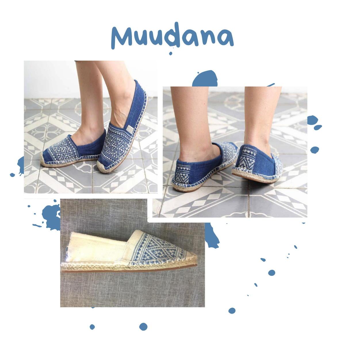 Muudana - Espadrilles - bleu - blanche - tissage - upcycling - indigo - mixte - homme - femme - cambodge